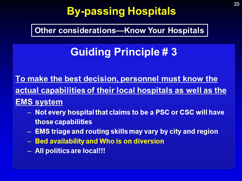 Other considerations—Know Your Hospitals