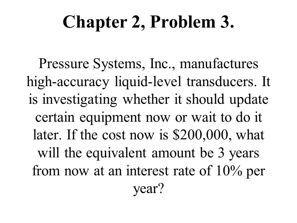 Chapter 2, Problem 3. Pressure Systems, Inc