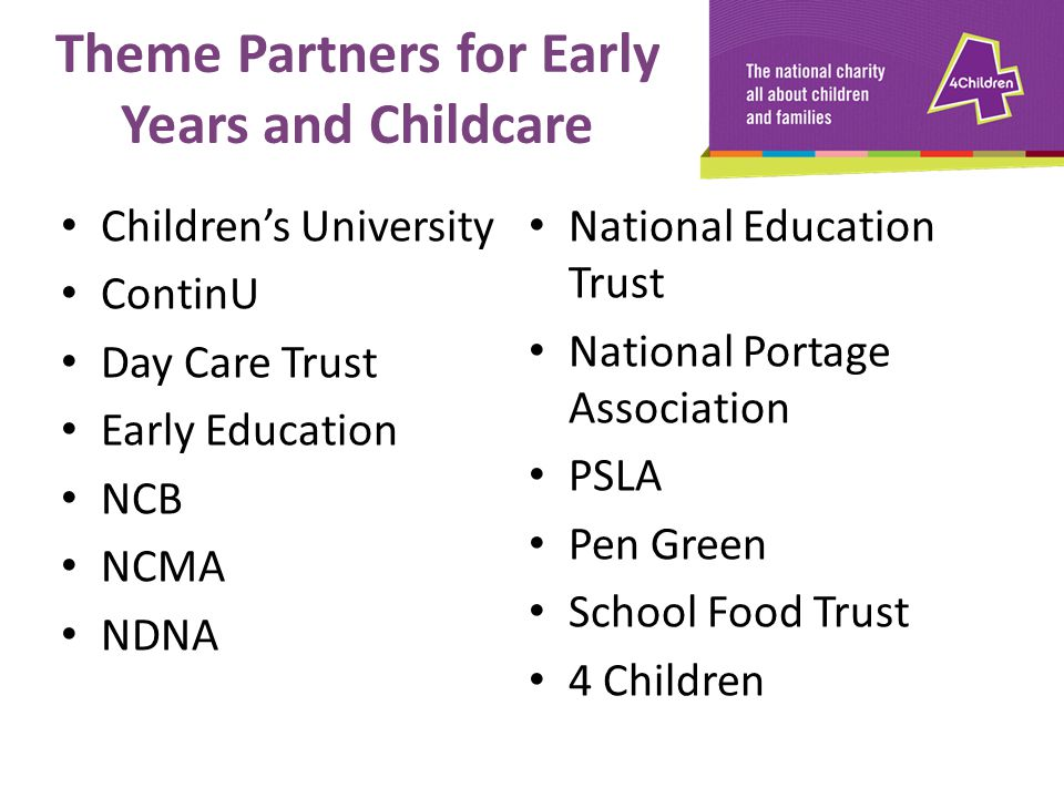 Theme Partners for Early Years and Childcare