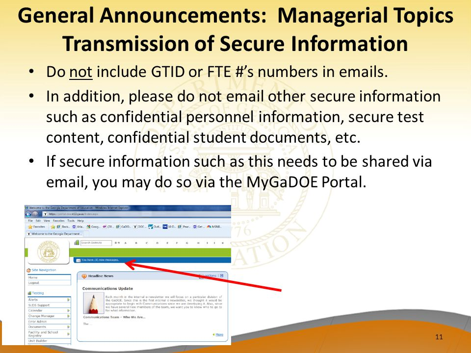 General Announcements: Managerial Topics Transmission of Secure Information