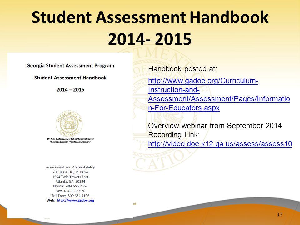 Student Assessment Handbook 2014- 2015