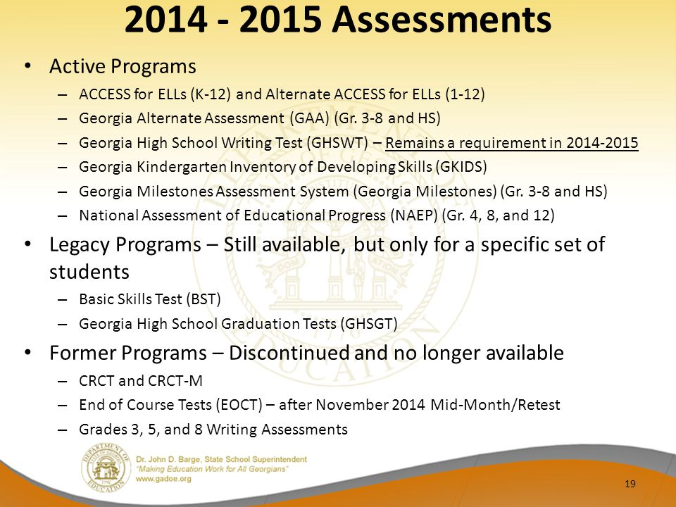 2014 - 2015 Assessments Active Programs
