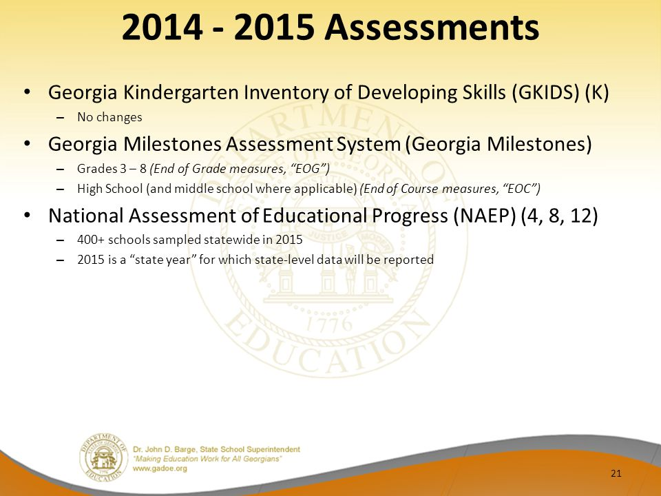 2014 - 2015 Assessments Georgia Kindergarten Inventory of Developing Skills (GKIDS) (K) No changes.