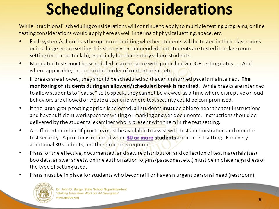 Scheduling Considerations