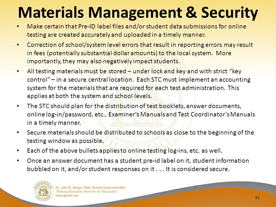 Materials Management & Security