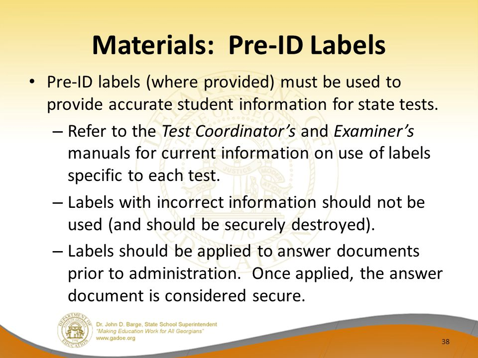 Materials: Pre-ID Labels