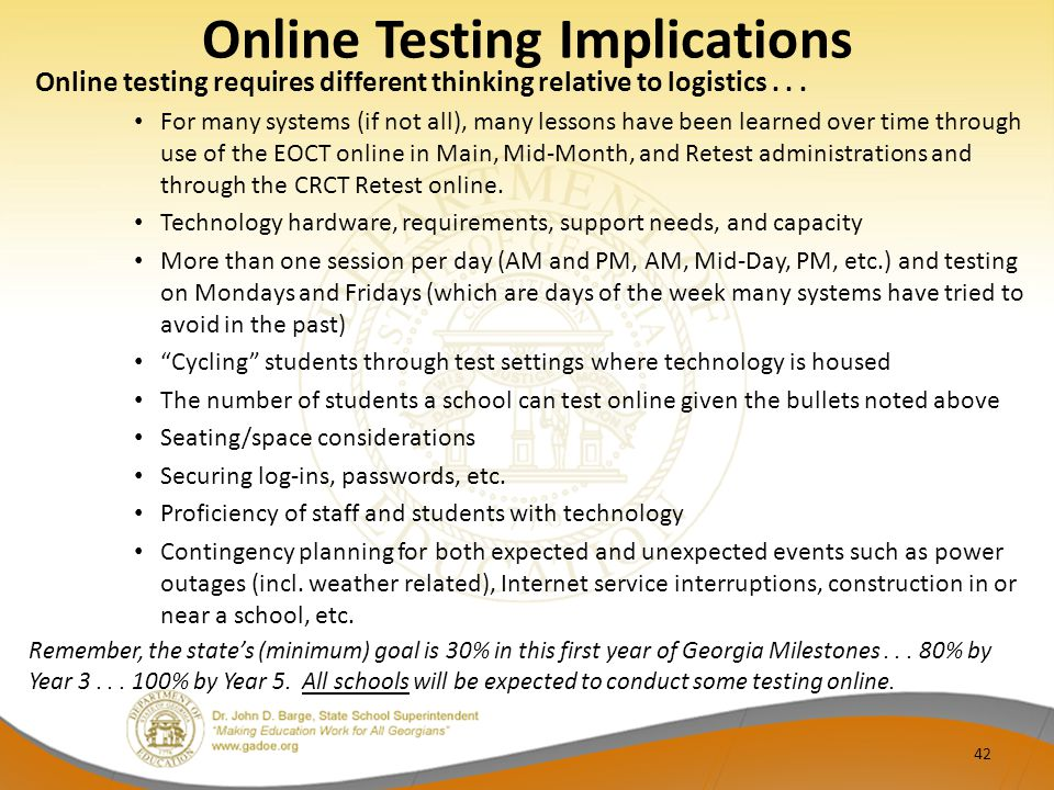 Online Testing Implications