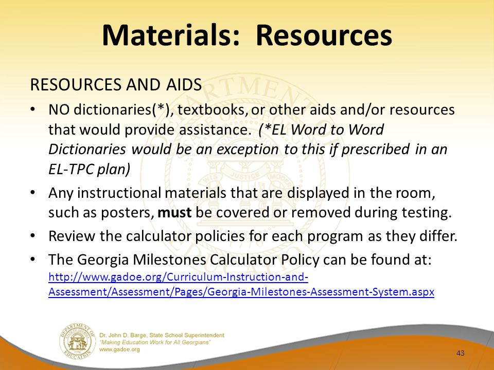Materials: Resources RESOURCES AND AIDS