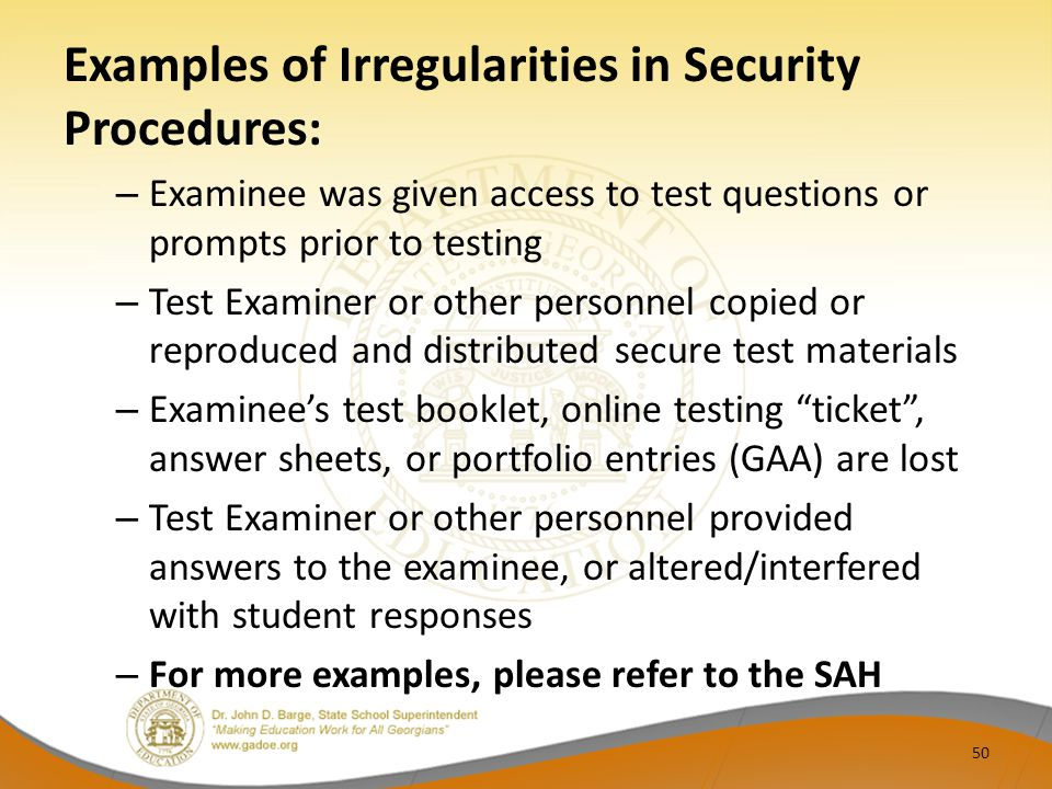 Examples of Irregularities in Security Procedures: