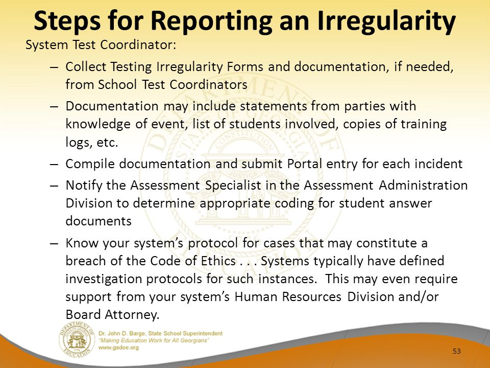 Steps for Reporting an Irregularity