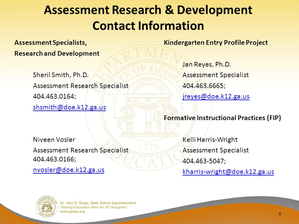 Assessment Research & Development Contact Information