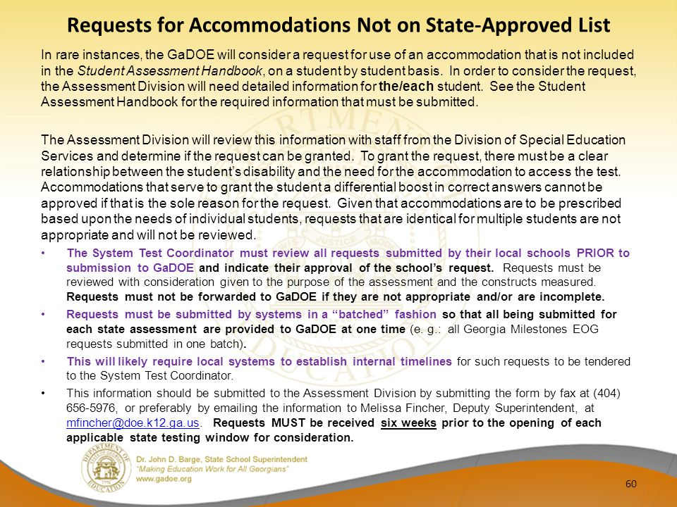 Requests for Accommodations Not on State-Approved List