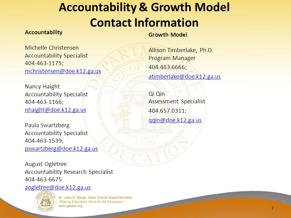 Accountability & Growth Model Contact Information