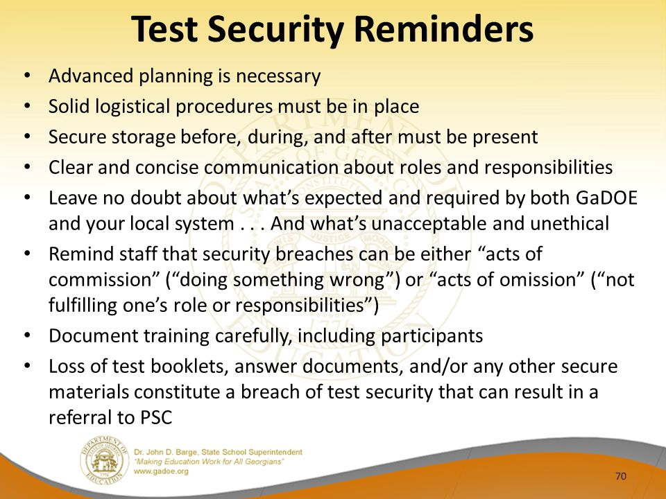 Test Security Reminders
