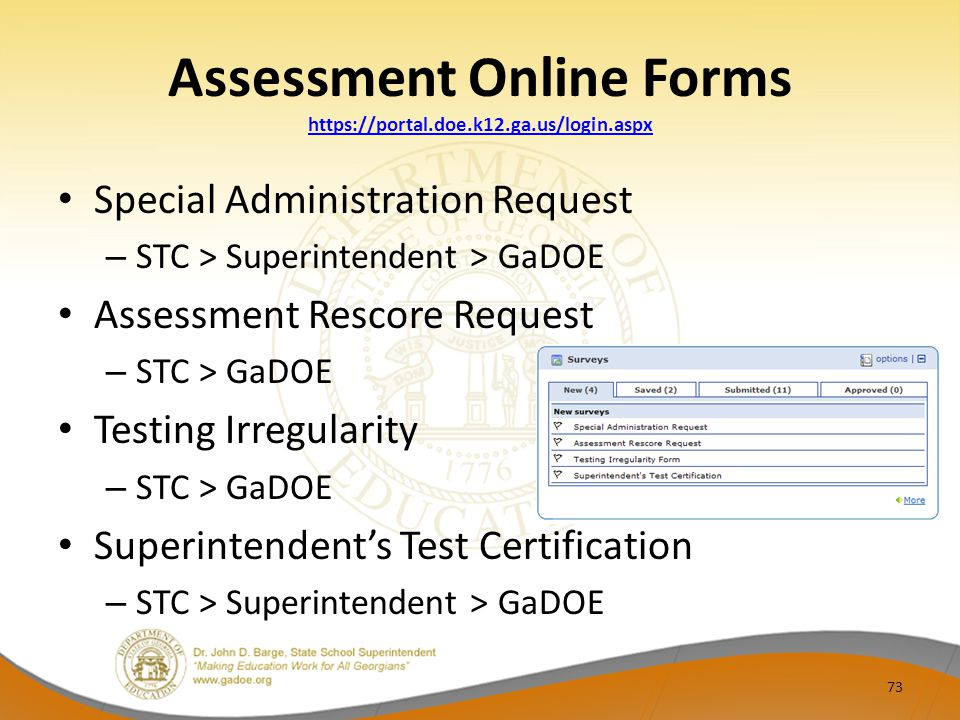 Assessment Online Forms https://portal.doe.k12.ga.us/login.aspx