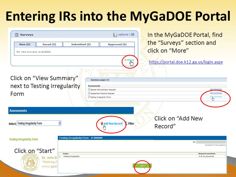 Entering IRs into the MyGaDOE Portal