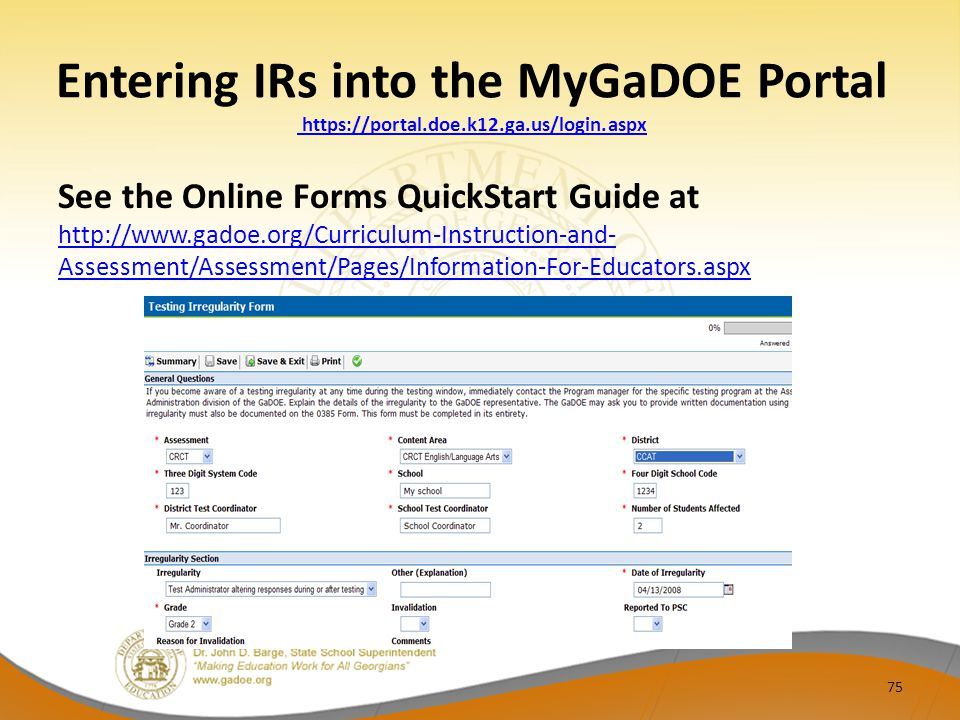 Entering IRs into the MyGaDOE Portal https://portal. doe. k12. ga