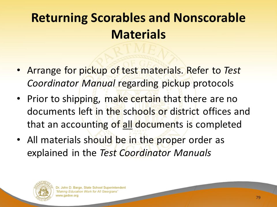 Returning Scorables and Nonscorable Materials