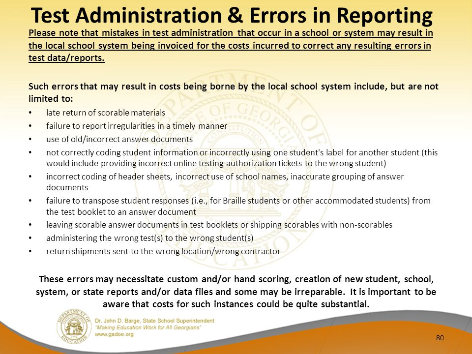 Test Administration & Errors in Reporting