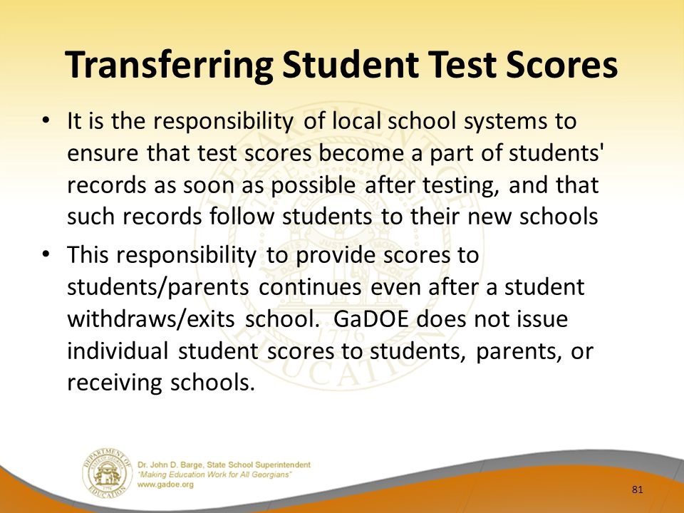 Transferring Student Test Scores
