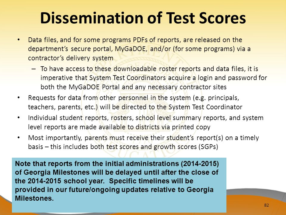 Dissemination of Test Scores