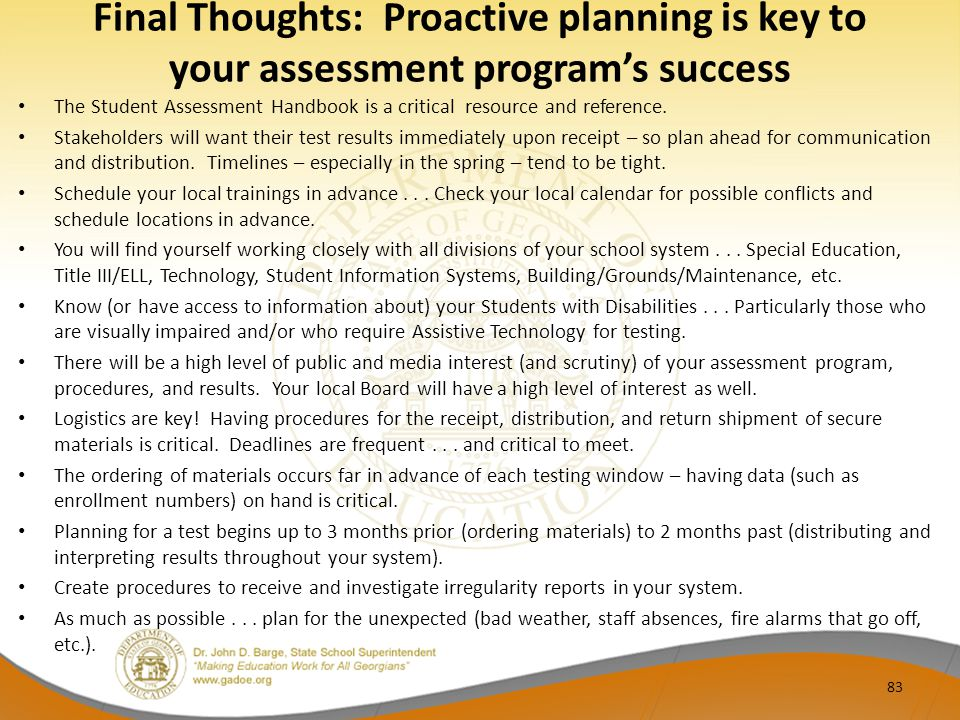 Final Thoughts: Proactive planning is key to your assessment program's success