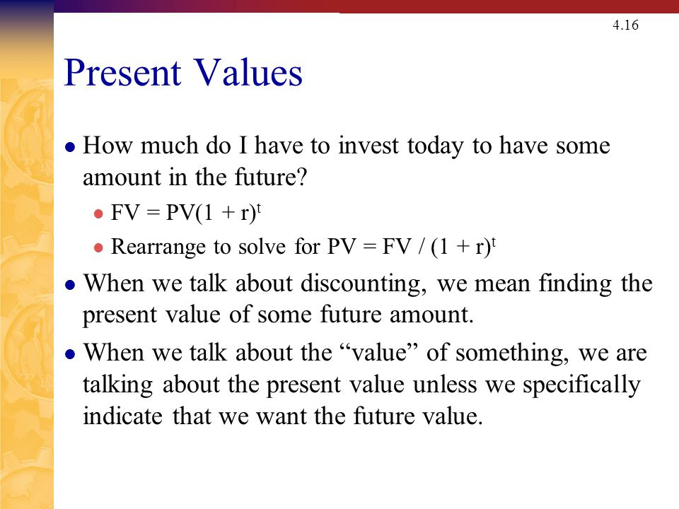 Present Value – One Period Example