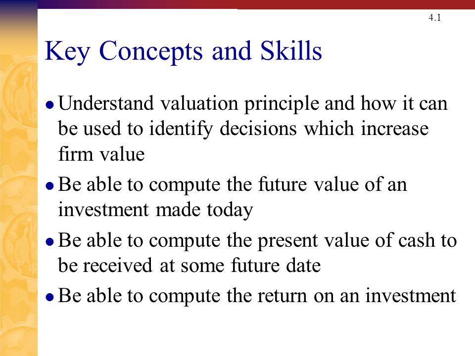 Chapter Outline Valuation Principle Future Value and Compounding