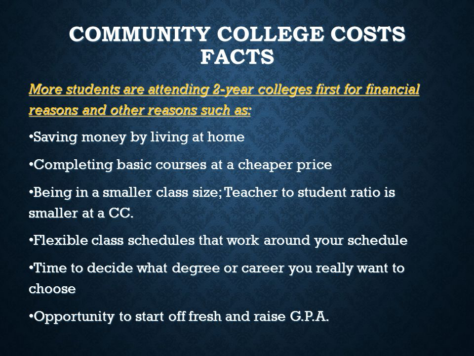 COMMUNITY COLLEGE COSTS FACTS