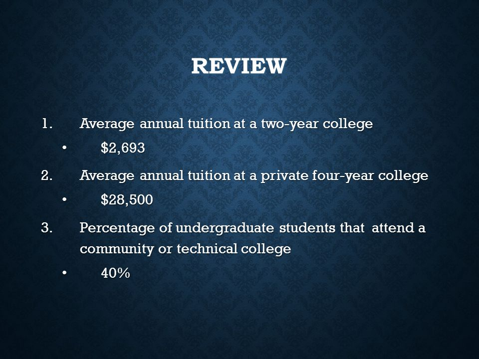 REVIEW Average annual tuition at a two-year college $2,693