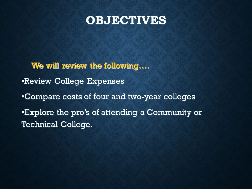 OBJECTIVES We will review the following…. Review College Expenses