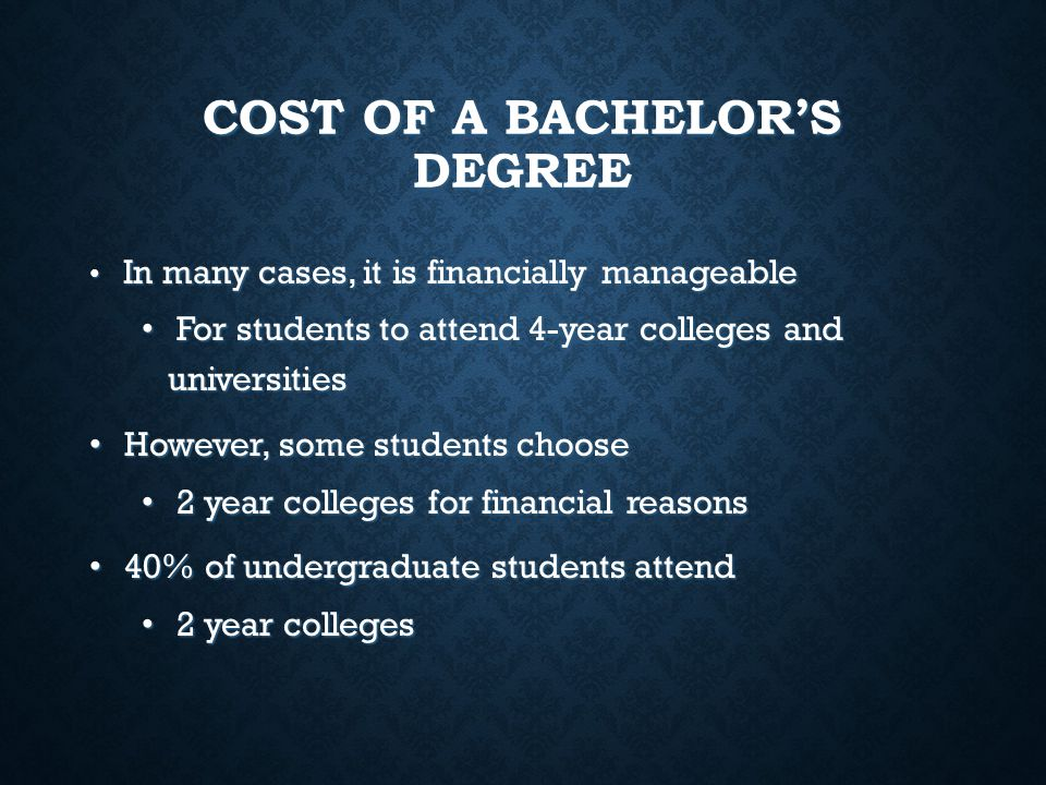 COST OF A BACHELOR'S DEGREE