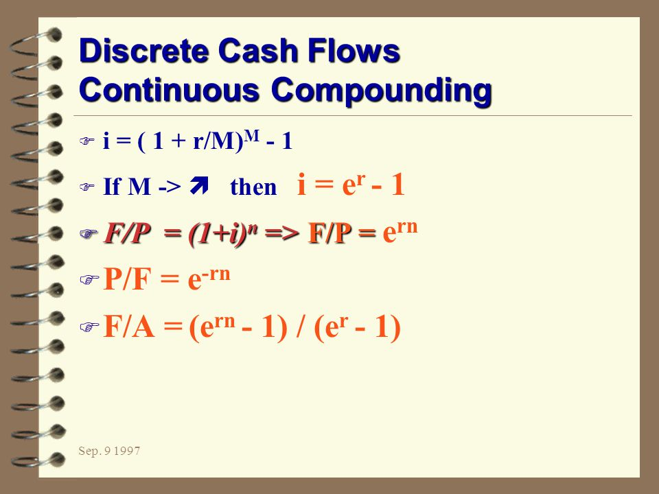 Discrete Cash Flows Continuous Compounding