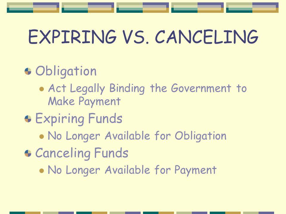 EXPIRING VS. CANCELING Obligation Expiring Funds Canceling Funds