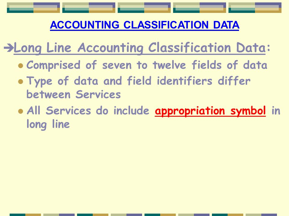 ACCOUNTING CLASSIFICATION DATA
