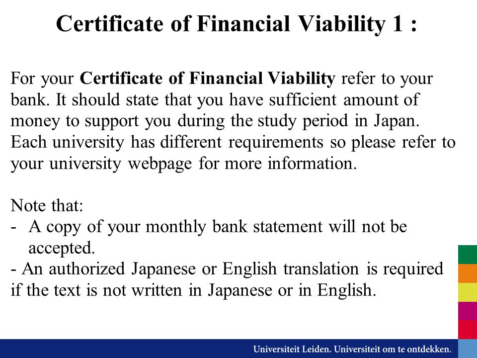 Certificate of Financial Viability 1 :