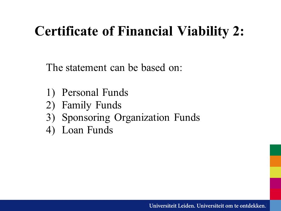 Certificate of Financial Viability 2: