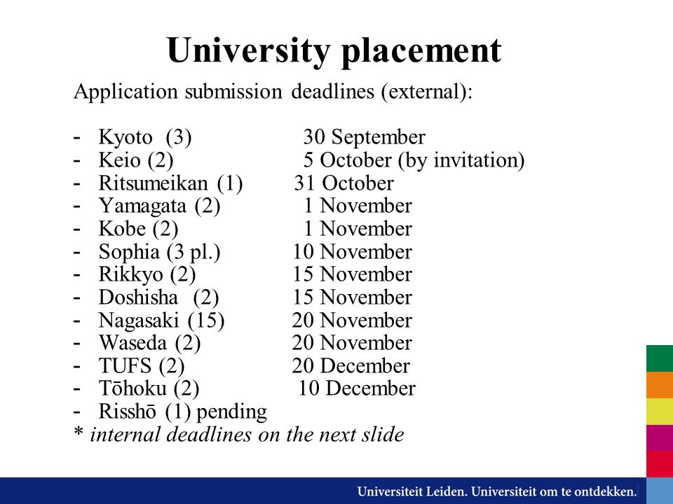 University placement Application submission deadlines (external):