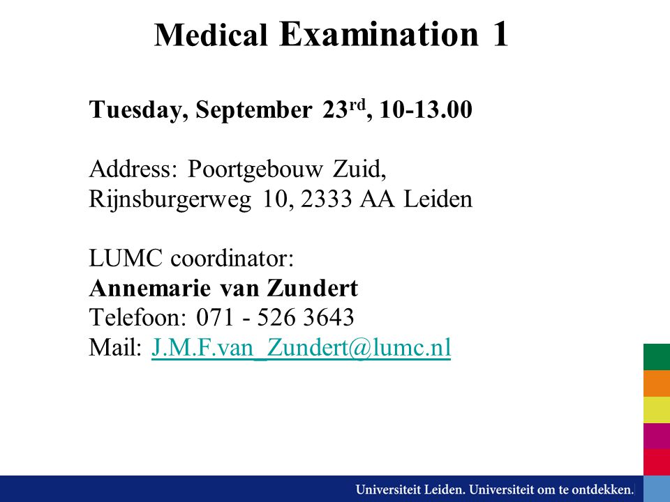 Medical Examination 1 Tuesday, September 23rd, 10-13.00