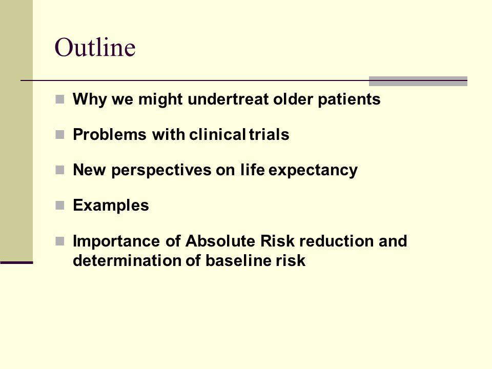 Outline Why we might undertreat older patients