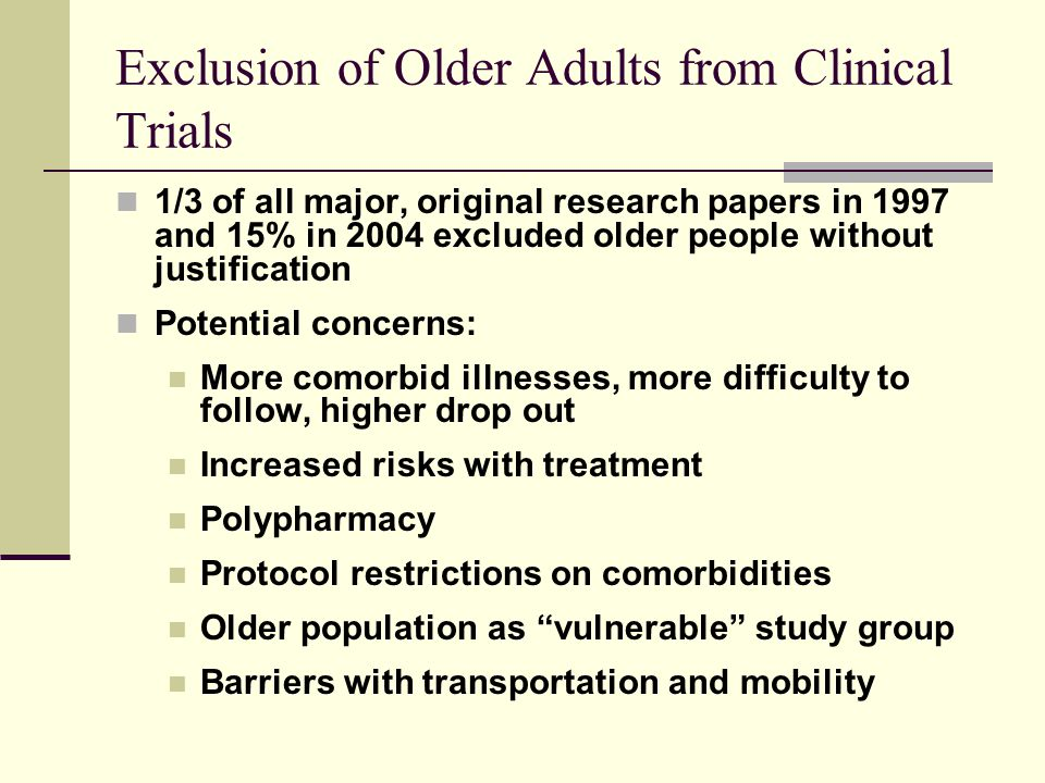 Exclusion of Older Adults from Clinical Trials