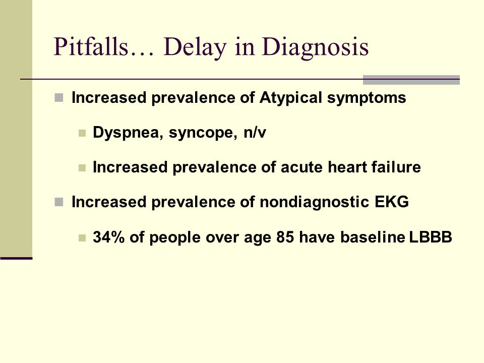 Pitfalls… Delay in Diagnosis