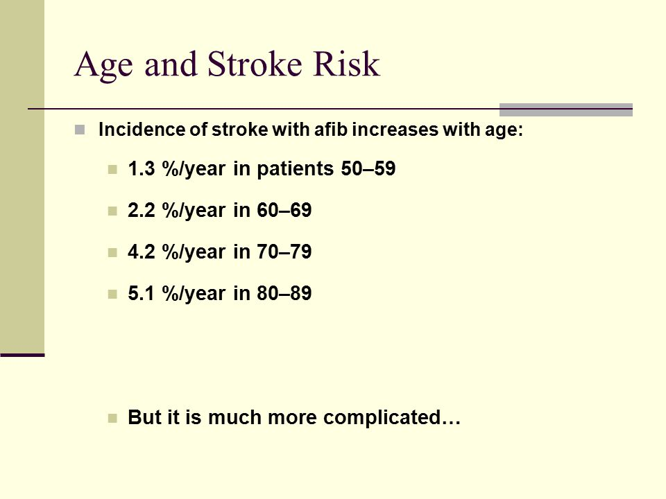 Age and Stroke Risk 1.3 %/year in patients 50–59 2.2 %/year in 60–69