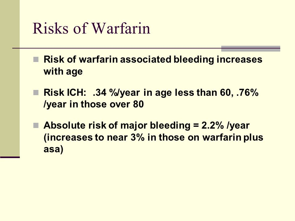 Risks of Warfarin Risk of warfarin associated bleeding increases with age. Risk ICH: .34 %/year in age less than 60, .76% /year in those over 80.