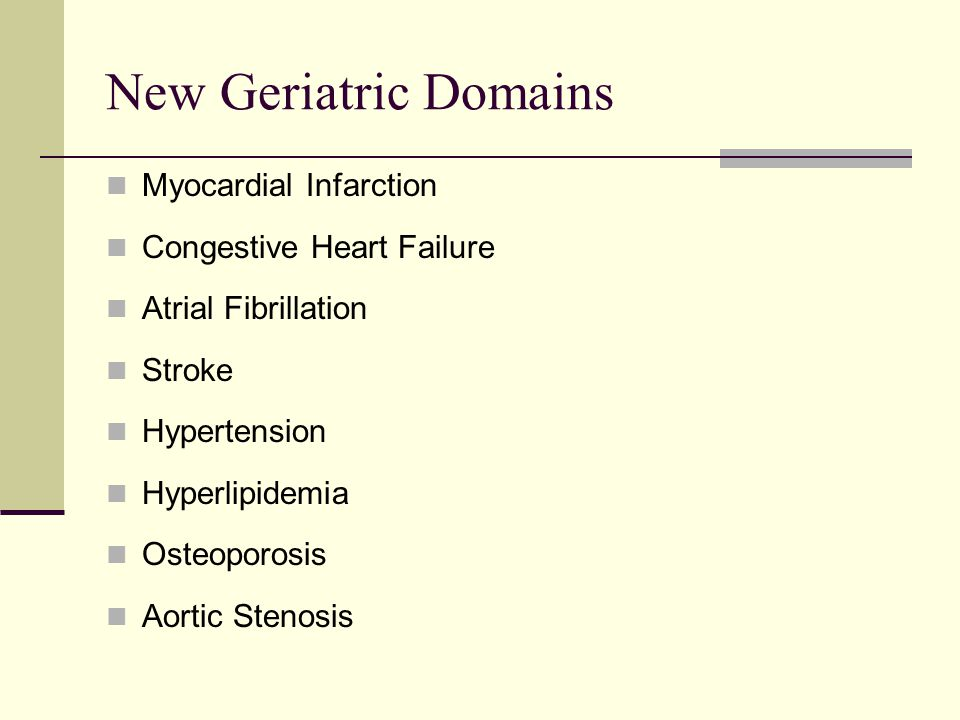 New Geriatric Domains Myocardial Infarction Congestive Heart Failure