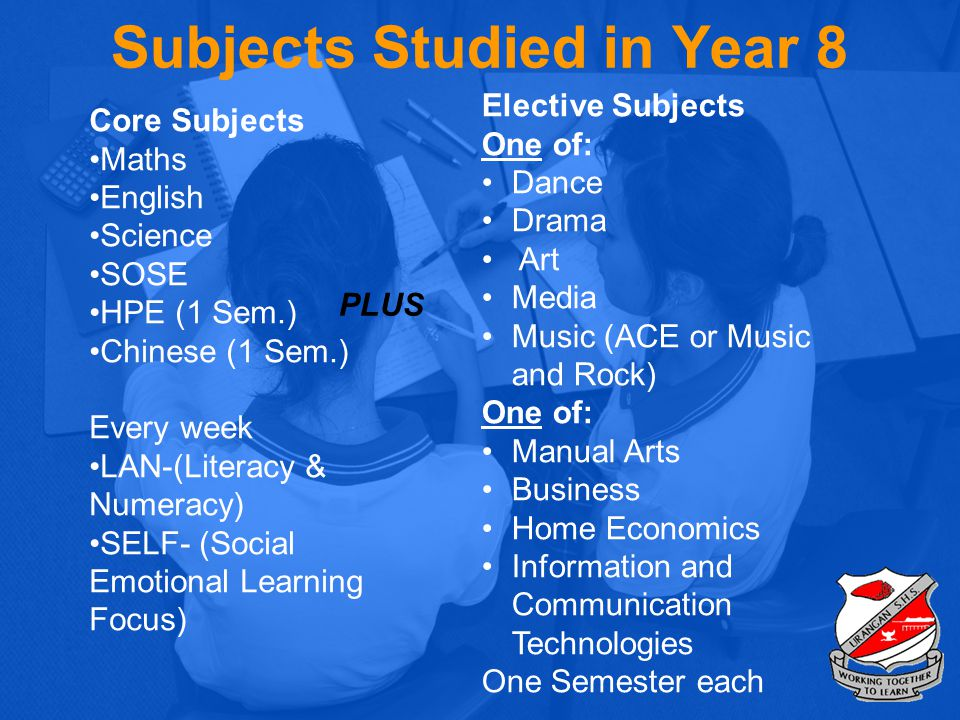 Subjects Studied in Year 8
