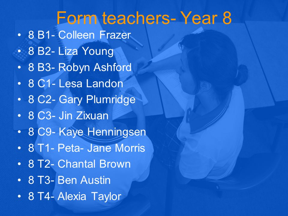 Form teachers- Year 8 8 B1- Colleen Frazer 8 B2- Liza Young