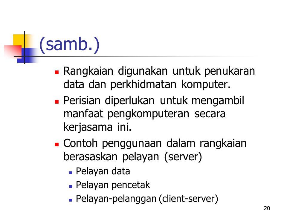 (samb.) Rangkaian digunakan untuk penukaran data dan perkhidmatan komputer.
