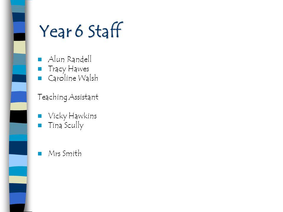 Year 6 Staff Alun Randell Tracy Hawes Caroline Walsh
