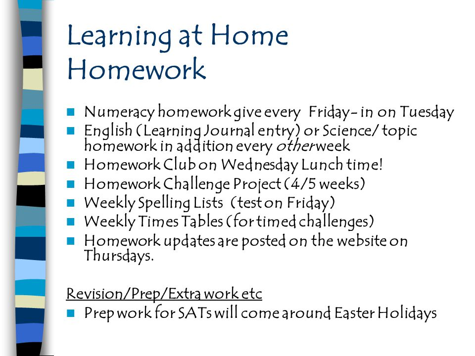 Learning at Home Homework